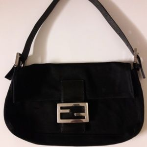 Authentic FENDI Black Fabric Mama Baguette Bag